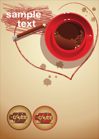 black coffee, red cup menu Vector