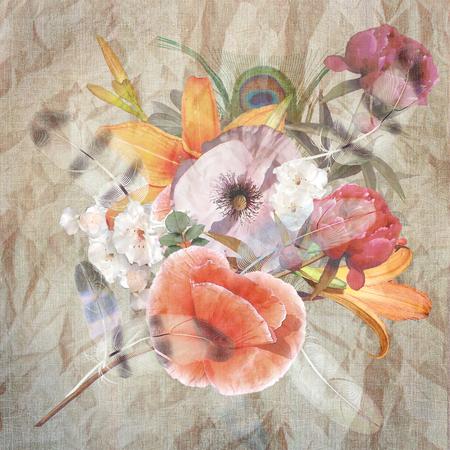 craquelure: floral design pastel colored, bouquet