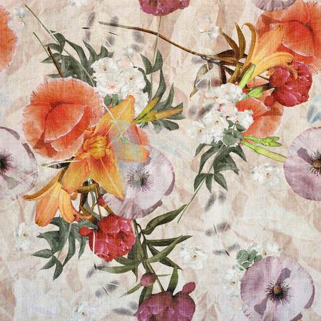 craquelure: floral design vintage