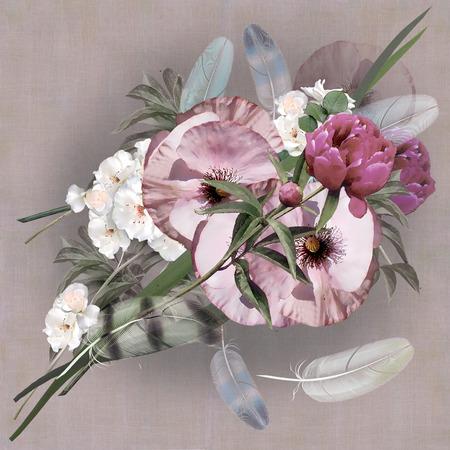 floral design pastel colored, iris bouquet photo