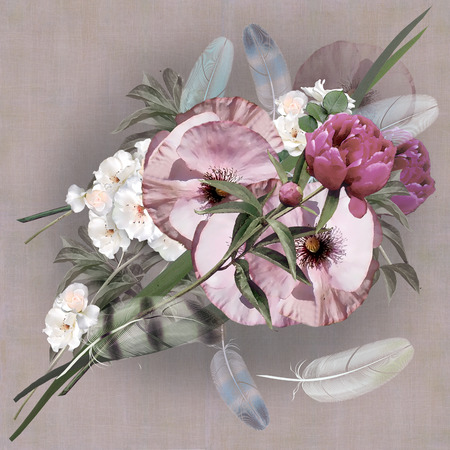 craquelure: floral design pastel colored, iris bouquet