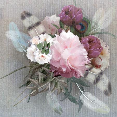 craquelure: floral design pastel colored, peonies bouquet Stock Photo