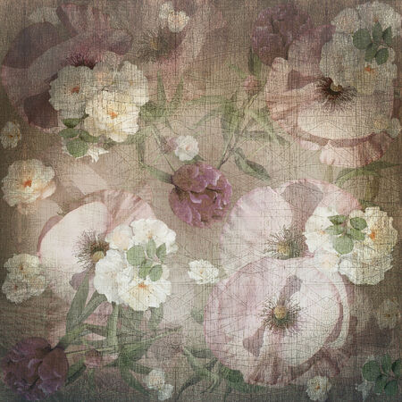 craquelure: floral background pastel colored, poppy, bouquet Stock Photo