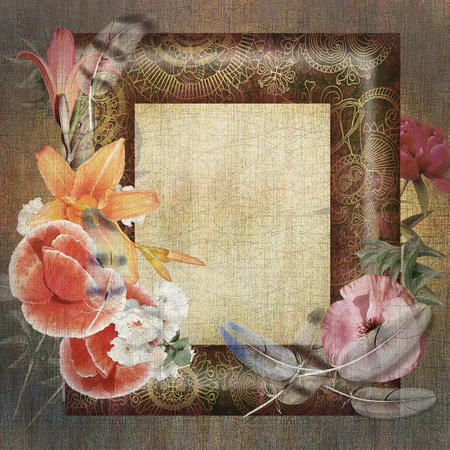 craquelure: floral postcard, flowers and feathers