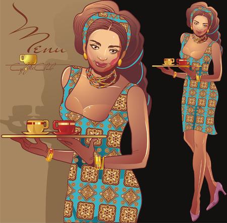 コーヒー ウェイトレス、ラティーナの女の子