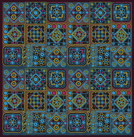 motley: motley pattern, geomrtric and floral elements Illustration