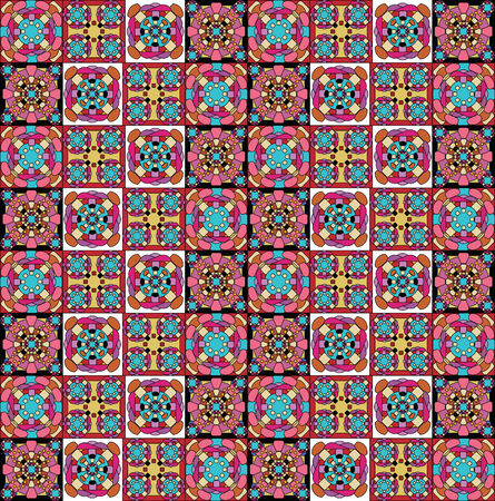motley: geometrical pattern, set of small parts, motley