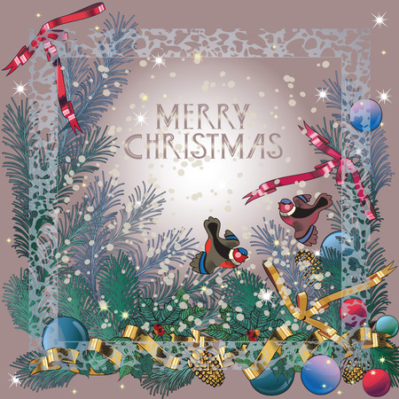 retro Christmas background , bullfinch and pine branches Illustration