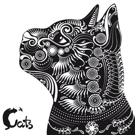 animalistic: black cat, pattern and animalistic letters