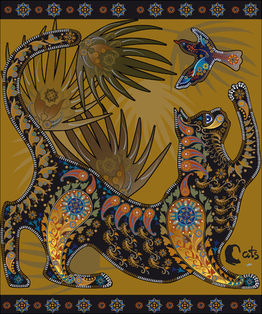 animalistic: motley decorative graphic image, a cat playing with a bird