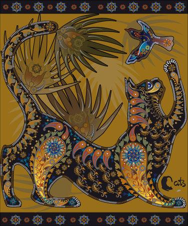 motley: Motley immagine grafica decorativa, un gatto che gioca con un uccello