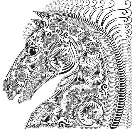 floral ornament: horses head black and white