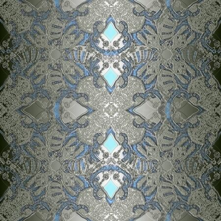 grey scale: decoration abstract pattern with floral  fragments, pastel colored Stock Photo