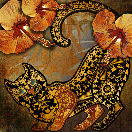 motley: decoration motley animal pattern, floral fragments, tropical  motif