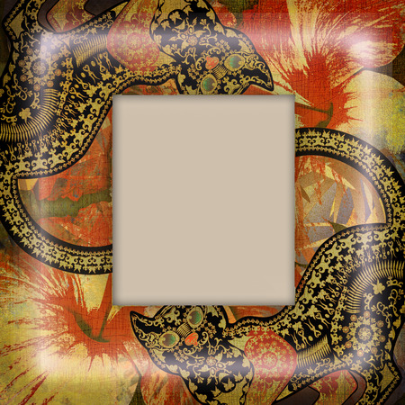 motley: decoration motley animal pattern, floral fragments,exotic frame