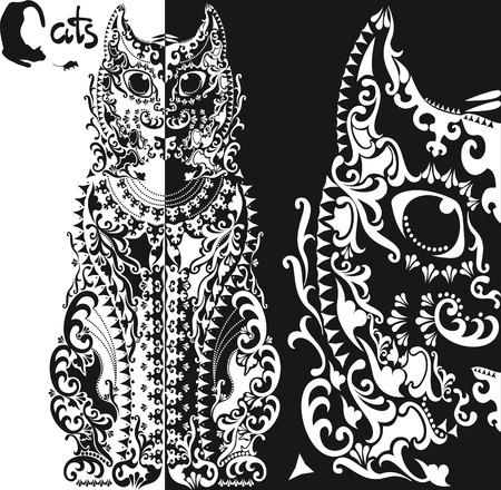 patterned: stylized  black and white patterned cat