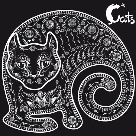 animalistic: stylized drawing lying cat on black background