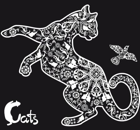 stylized drawing cat on black background Illustration