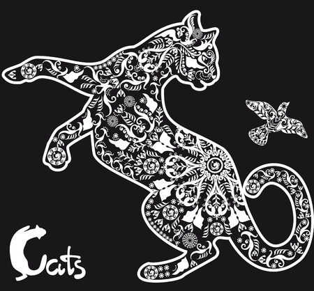 cat: stylized drawing cat on black background Illustration