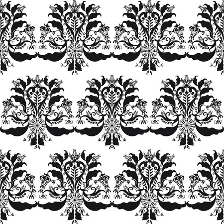 with sets of elements: floral patten black and white seamless