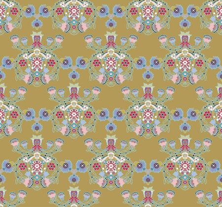 with sets of elements: seamless floral pattern on green background