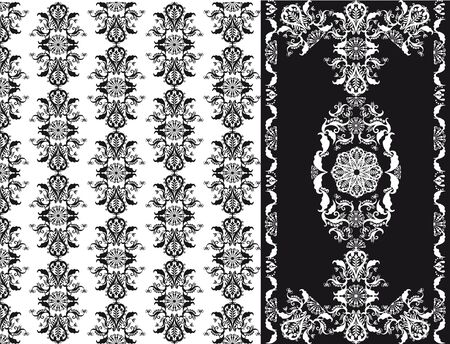 patten: floral patten black and white seamless