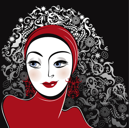 portret vrouw: stylised portrait woman beautiful in red