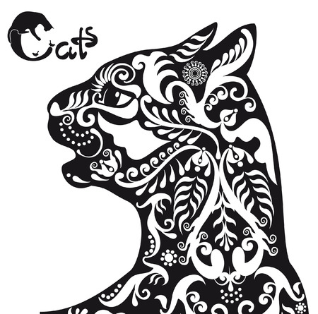 stylized  black and white patterned cat