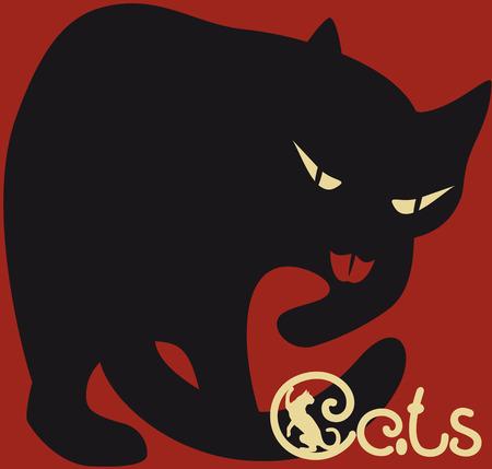 rojo oscuro: estilizado gato negro sobre fondo rojo oscuro