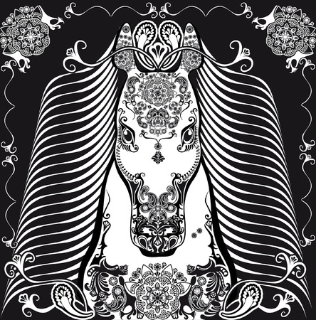 patterned: stylized patterned head horse black and white Illustration