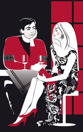 woman drinking wine: couples drinking vine in cafe Illustration