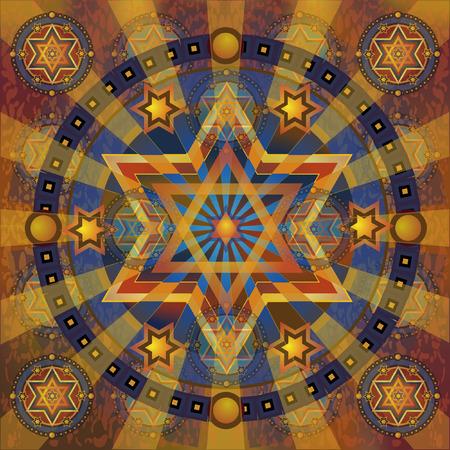 stars david radial ornament, eps10