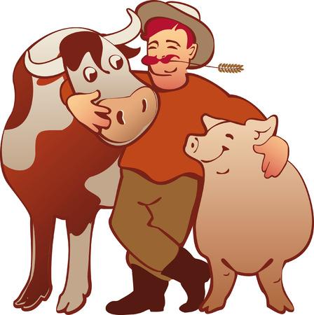 happy farmer: happy farmer with his animals isolated, cartoon