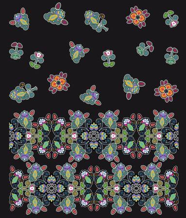 motley: motley floral design on black background
