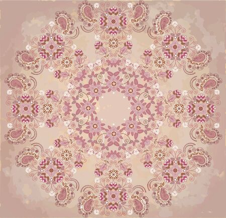 spotty: lase floral design on beige spotty background Illustration