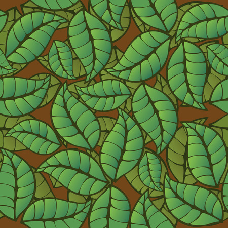 feuilles de th�: seamless pattern green leaves, stylized tea leaves Illustration