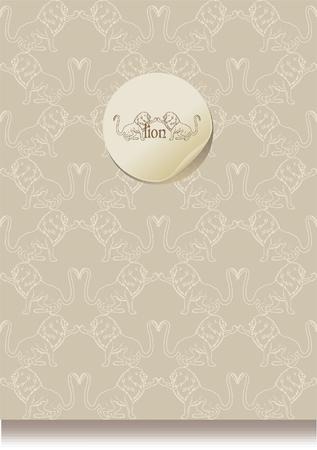 lion silhouette: vintage  leaflet paper with a lion silhouette, eps10 Illustration