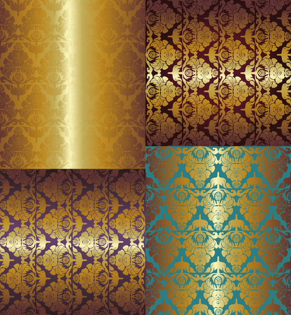 pompous: seamless floral golden pattern on color background Illustration