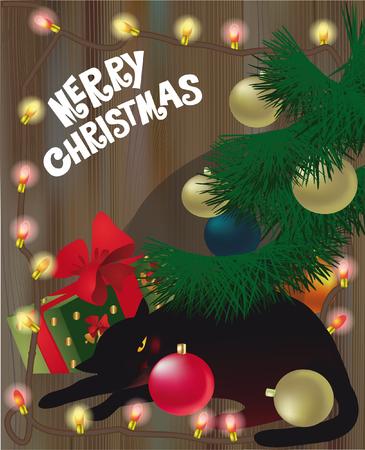 black light: black sleeping cat under the Christmas tree, holiday card