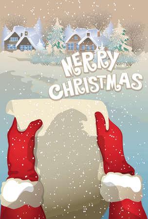 wishlist: retro Christmas  card wishlist to Santa Illustration