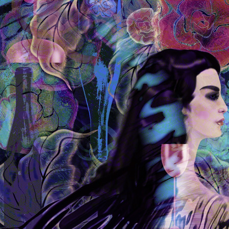 stylized woman face on a floral background