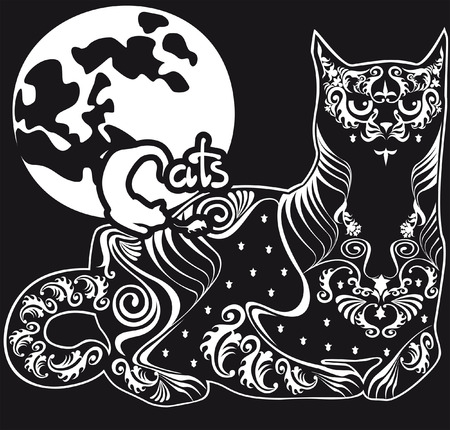 animal silhouette: lying black cat against the moon, the inscription and symbols
