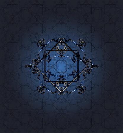 seamless blue lace pattern on dark blue background  Illustration