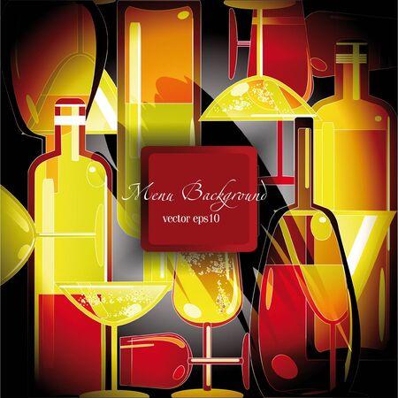 wine list: wine list background,stylized wine bottles design Illustration