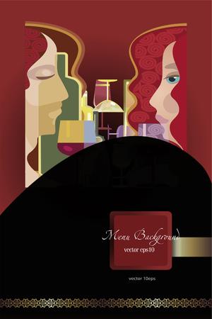 ワイン メニューの背景、様式化されたワインのボトルと人々 写真素材 - 50918184