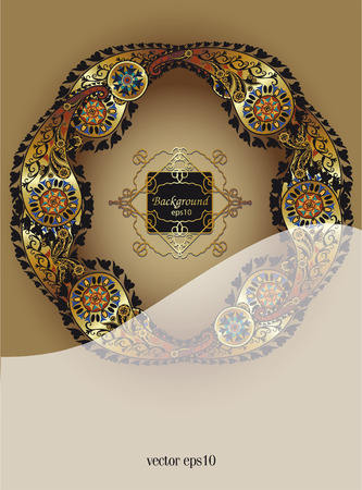 colonial: cover  leaflet or booklet in colonial style, indian motif