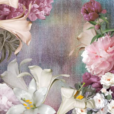 peonies: bouquet peonies, floral pastel color background