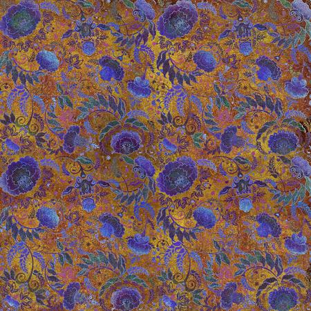 granular: blue and yellow , granular motley floral design