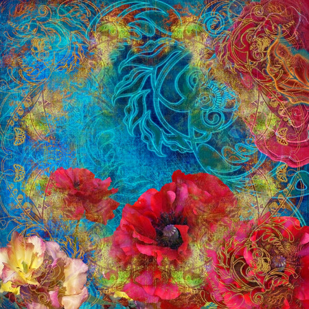 motley: abstract motley floral design on turquoise
