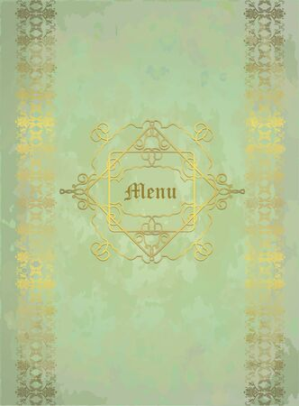 fondo elegante: floral design golden on pale green shabby background,eps10 Vectores